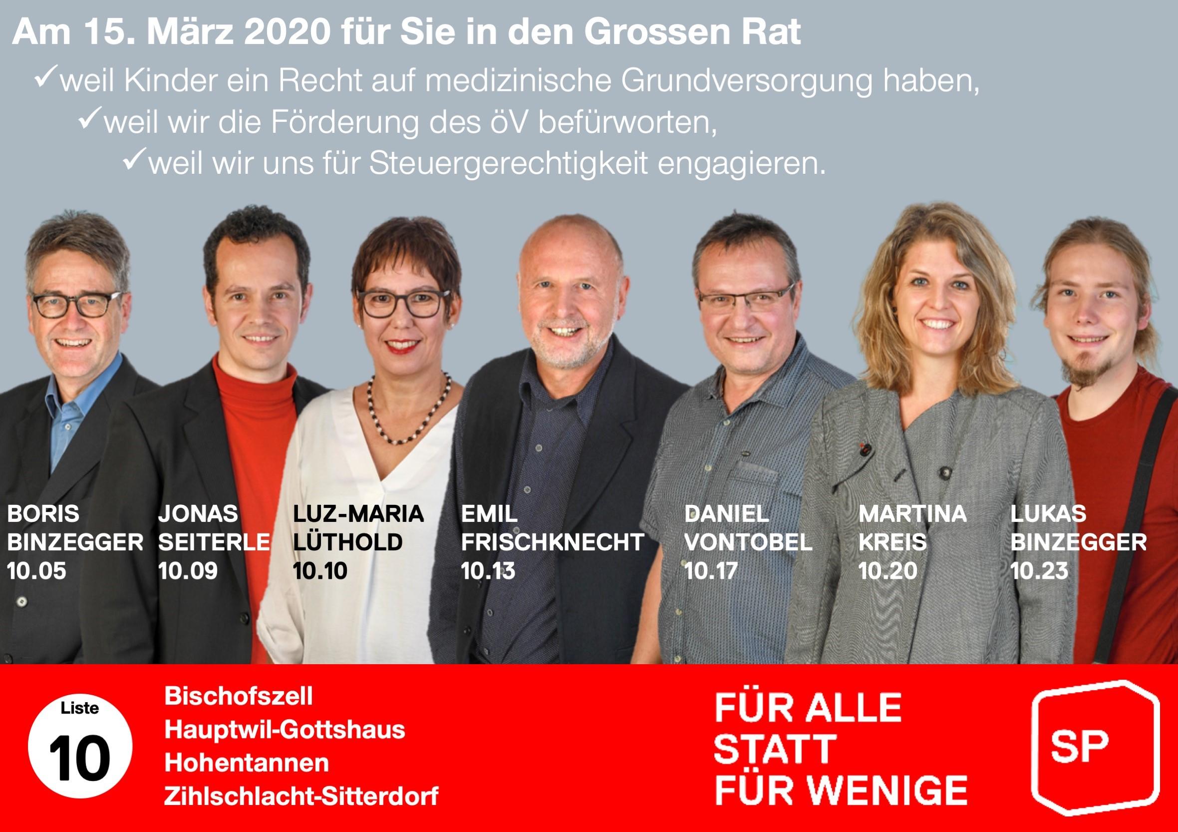 Flyer SP-Bischofszell pour les élections au Grand Conseil TG 2020